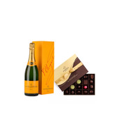 Veuve Clicquot Brut w/22pc. Dark Godiva Collection