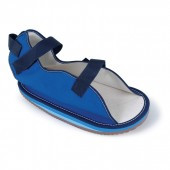 Cushioned rocker bottom cast sandal Contact closure,open toe