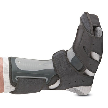 Exoform® Dorsal Night Splint HC000398  •Adjustable aluminum stay inside dorsal shell allows modification in the angle of dorsiflexion •Soft, overmolded edges enhance comfort •Hinged shell at the calf area prevents brace rotation •Semi-rigid plantar pad reduces discomfort along the sides of the foot while providing an improved angle of dorsiflexion •Non-slip surface on plantar pad prevents slipping during normal walking •Circumferential heel and posterior strapping prevents migration while increasing overall comfort and effectiveness •Strapping and shell perforations improve comfort and breathability •Integrated support shell with adjustable aluminum stay maintains the therapeutic angle of the foot and lower leg at 85° to 90° •Flex Edge™ overmolding eliminates pressure points and discomfort while protecting sleeping partners •Full calf and heel strapping holds the foot in the desired angle and eliminates rotation and migration of the product •Thermoformed Form Fit® padding •Ideal for Plantar Fasciitis, Achilles Tendonitis, Drop Foot and Post-Static Pain