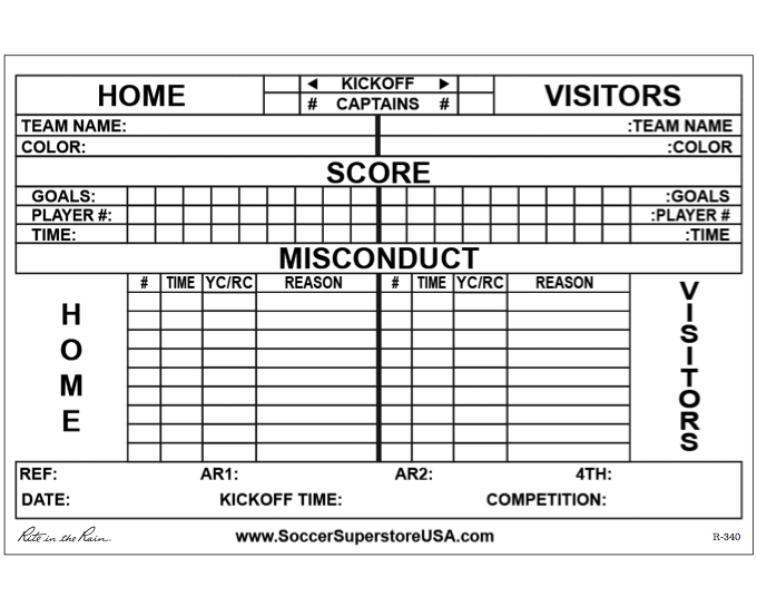 Referee Match Report Pad Scoresheets