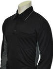 """MLB"" Black Umpire Shirt w/Grey Side Panel L/S"