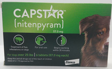 Capstar (nitenpyram) Dogs 25+ lbs Oral Flea Treatment 6 Tablets