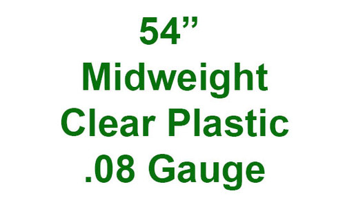 """54"""" Midweight Clear Plastic .08 gauge by the yard."""