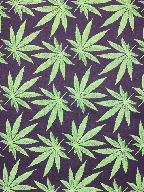 """60"""" Broadcloth with Cannabis print in green on black background"""