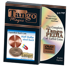 Expanded Shell Coin (Half Dollar w/DVD) (D0007)(Steel Back) by Tango Magic