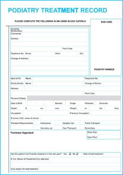 Podiatry Treatment Record Set