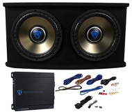 "Rockville RVSPL12.2 Dual 12"" 1800w Car Subwoofer+Sub Box+Amp+Wires Bass Package"