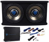 "Rockville RVSPL10.2 Dual 10"" 1500w Car Subwoofer+Sub Box+Amp+Wires Bass Package"