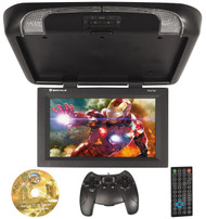 "Rockville RVD17HD-BK Black 17"" Flip Down Car Monitor DVD/HDMI/USB/SD/Games"