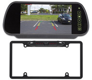 "Rockville Black Full Metal License Plate Camera+7"" Rearview Car Mirror Monitor"