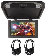 "Rockville RVD17HD-BK Black 17"" Flip Down Car Monitor + Wireless Headphones"
