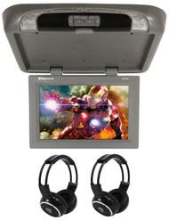 "Rockville RVD17HD-GR Grey/Gray 17"" Flip Down Car Monitor + Wireless Headphones"
