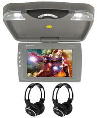 "Rockville RVD13HD-GR 13"" Flip Down Car Monitor w DVD/HDMI/USB/SD/Games+Headsets"