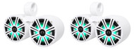 "Pair Dual KICKER 43KM84LCW 8"" 1200w Marine Boat Wakeboard Tower Speakers w/LED's"