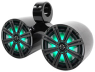 "KICKER 43KM84LCW Dual 8"" 600 Watt Marine Boat Wakeboard Tower Speakers w/ LED's"