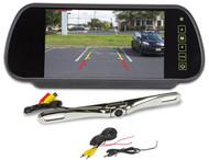 "Rockville Chrome Metal License Plate Bar Type Backup Camera+7"" Mirror Monitor"
