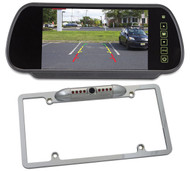 """Rockville Chrome Full Metal License Plate Camera+7"""" Rearview Car Mirror Monitor"""