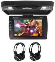"Rockville RVD13HD-BK 13"" Flip Down Car Monitor w DVD/HDMI/USB/SD/Games+Headsets"