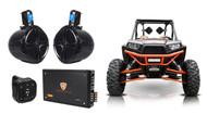 "(2) Rockville 8"" Tower Speakers+4-Ch. Amp+Bluetooth Contoller For RZR/ATV/UTV"