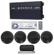 "Hifonics TMA-2000.4 2000w 4-Ch Marine Boat Amplifier+Receiver+(4) 6.5"" Speakers"