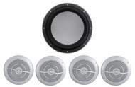 "KICKER 43KMW102 10"" 300 Watt Marine Subwoofer Sub 4-Ohm+(4) 6.5"" Boat Speakers"