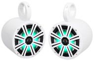 "Pair KICKER 43KM84LCW 8"" 600 Watt Marine Boat Wakeboard Tower Speakers w/ LED's"