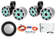 "(2) Kicker Dual 8"" Marine Wakeboard LED Speakers+Sub+6-Channel Amplifier+Amp Kit"