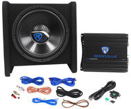 "Rockville RV12.1A 600w 12"" Loaded Car Subwoofer Enclosure+Mono Amplifier+Amp Kit"