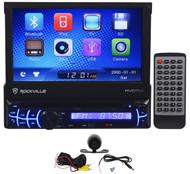 "Rockville RVD7M Single Din 7"" Car DVD Receiver Bluetooth iPhone+Backup Camera"