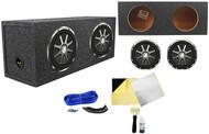 "2 Kicker 10CVX104 CVX10 10"" 1200w Car Audio Subwoofers+Sealed Sub Box + Rockmat"