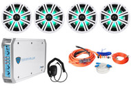 "4 KICKER 43KM84LCW 8"" 1200w Marine Boat Speakers w/ LED's+4-Ch Amplifier+Amp Kit"