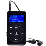 Front view and ear buds are included - Electronic Audio Bible MP3 player, NASB Audio Bible