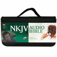 Front view - New King James Bible Complete on CD, dramatized version by Stephen Johnston, showing carrying strap