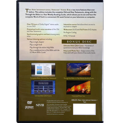 Back view - NIV Video Bible on DVD, dramatized version, Deluxe Edition