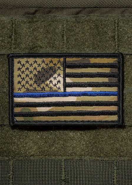 Dark Camo Thin Blue Line Patch