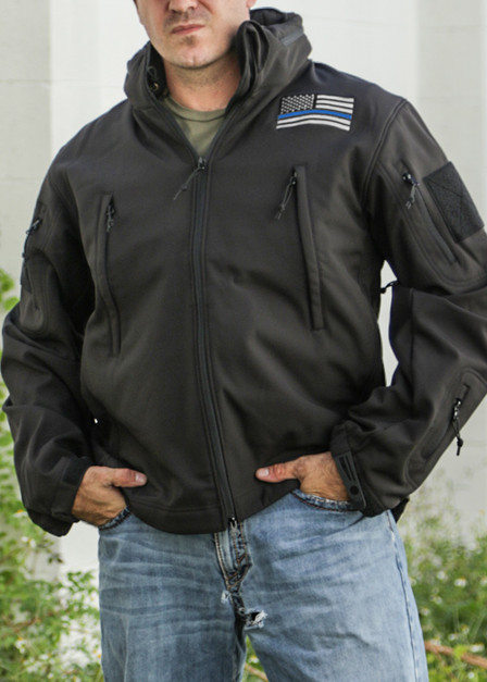 Concealed Carry Soft Shell Jacket - Thin Blue Line