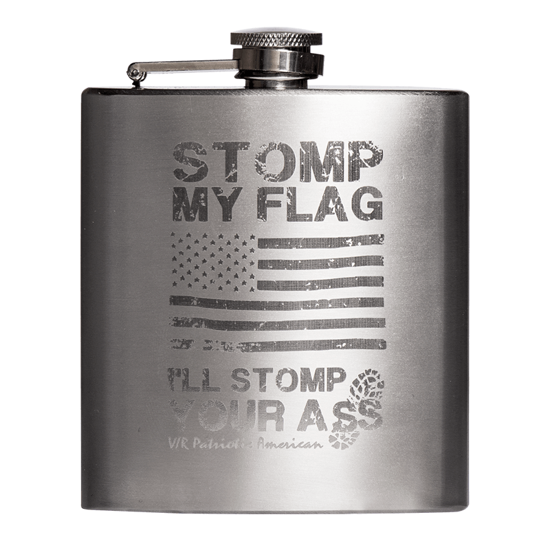 Nine Line Flask with Stomp My Flag I'll Stomp Your Ass