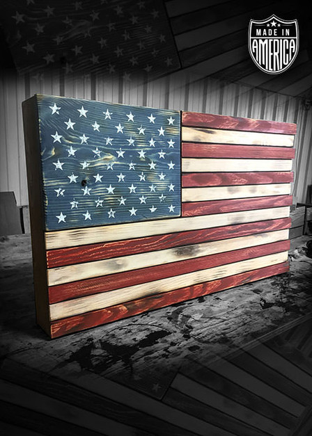 American Flag - Wooden Sign Color