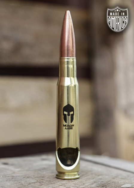 American Made 50 Cal Bottle Opener - Molon Labe