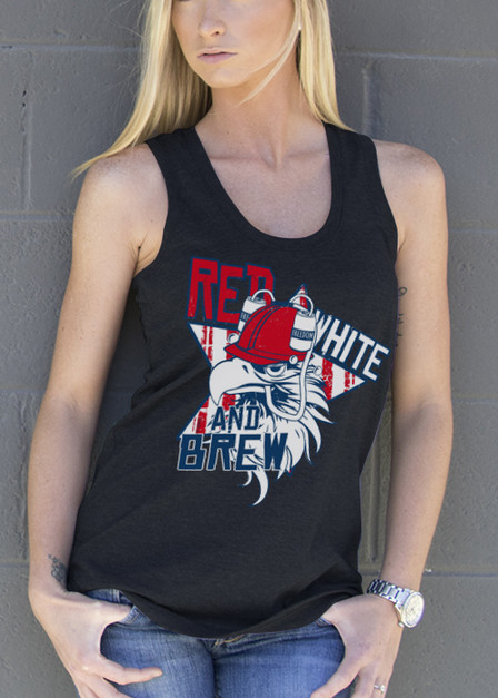 Women's Racerback Tank - Red White and Brew