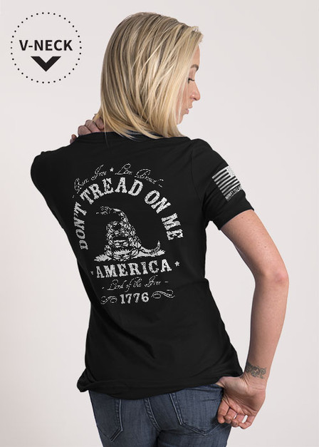Women's Relaxed Fit V-Neck Shirt - Don't Tread On Me
