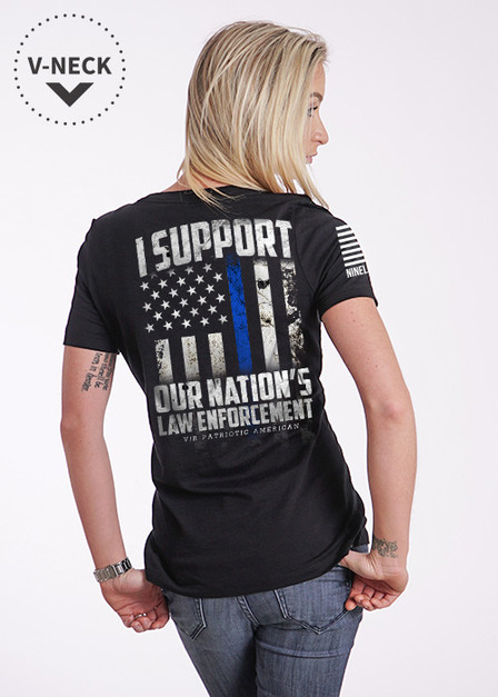 Relaxed Fit V-Neck Shirt - Support Our Law Enforcement