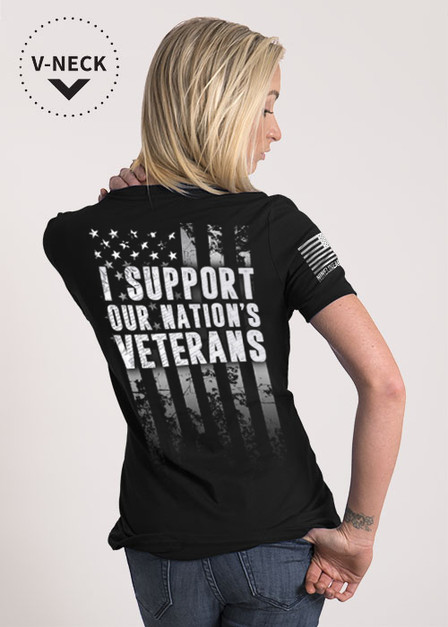 Women's Relaxed Fit V-Neck Shirt - Support Our Veterans