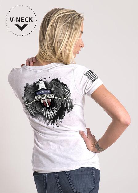 Relaxed Fit V-Neck Shirt -Relentlessly Patriotic Eagle