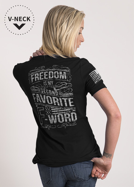 Relaxed Fit V-Neck Shirt — Freedom is My Second Favorite F Word