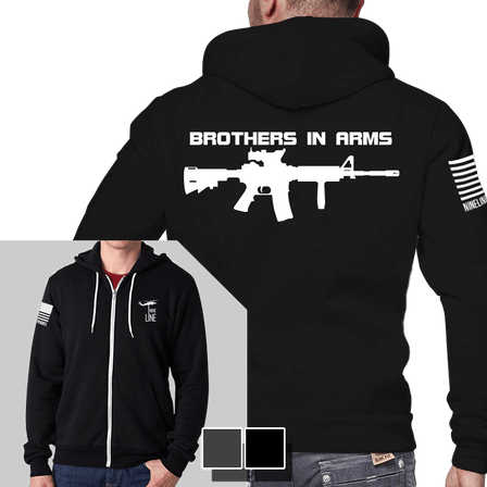 Men's Full-Zip Hoodie - Brothers In Arms Drop Line/Rifle
