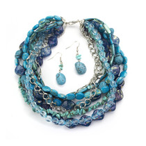 Ocean Hues Genuine Turquoise and Shell Necklace and Earring Set