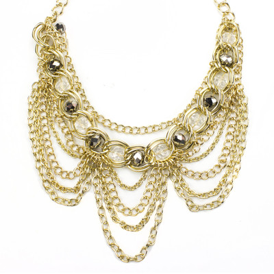 Draped in Gold Bib Necklace and Earring Set