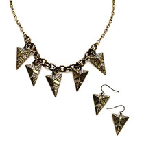 Gold Plated Arrow Necklace and Earring Set