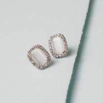 Grace White Cat's Eye and Austrian Crystal Earrings